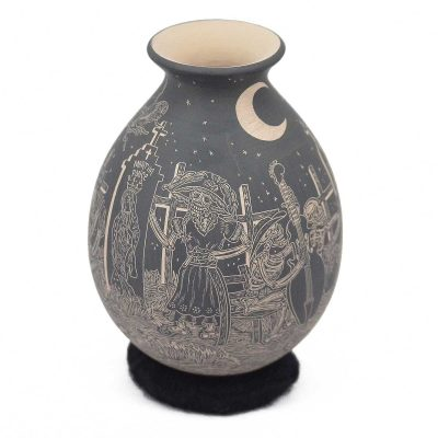 Mata Ortiz Pottery: Javier Martinez & Gaby Perez: Etched Night of the Dead / Día de los Muertos