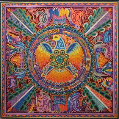 Santos Daniel Carrillo Jimenez : Premier Huichol Yarn Painting