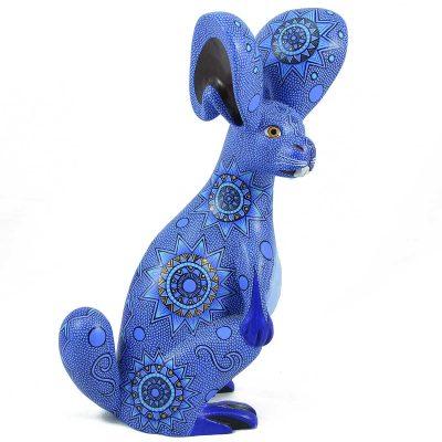 Oaxacan Wood Carving: Francisco Hernandez Cruz: Blue Rabbit