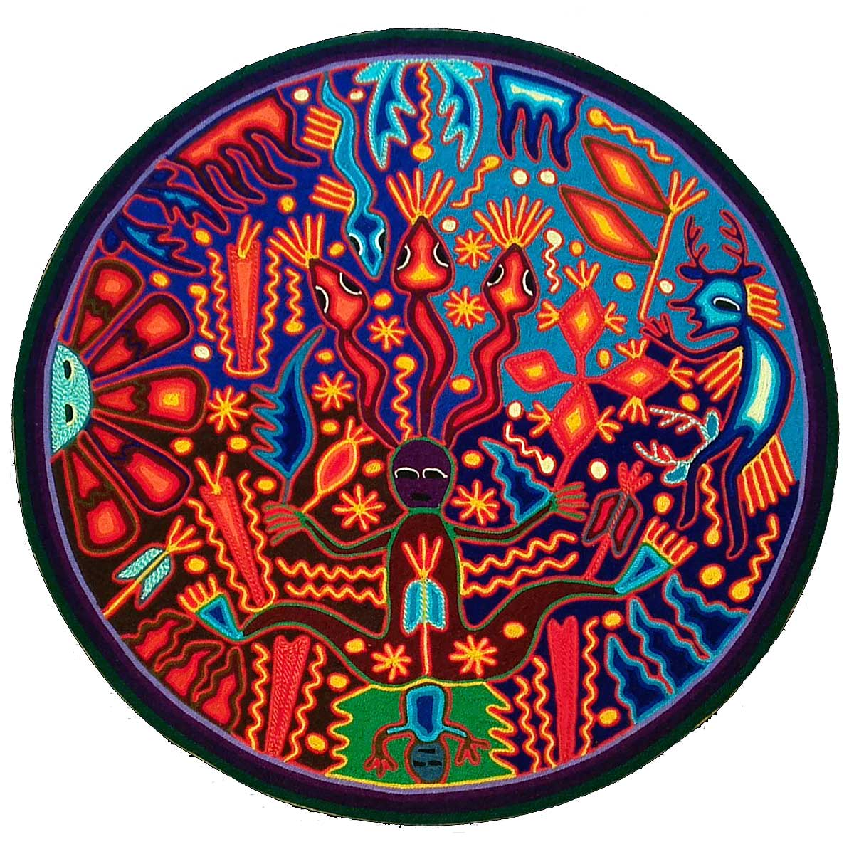 Eliseo de la Cruz Benítez: Premier Huichol Yarn Painting Depicting Birth