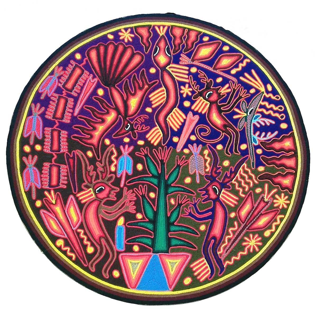 Eliseo de la Cruz Benítez: Huichol Yarn Painting of Sacred Cornfield