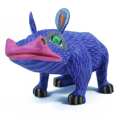 Efrain Fuentes Hippo Oaxacan Wood Carving